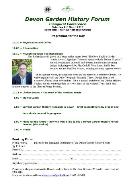 Devon Garden History Forum booking form